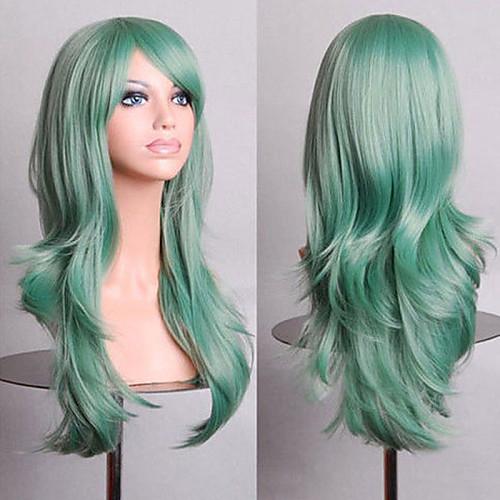 fashion color cartoon colored wigs special masquerade 70 cm mint green wig - Colored Wig